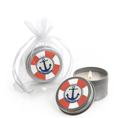Ahoy - Nautical - Candle Tin Baby Shower or Birthday Party Favors - Set of 12