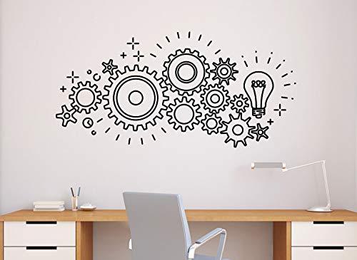 (Gears Mechanism Wall Decal Vinyl Sticker Home Office Decor Engineering Interior (51n))