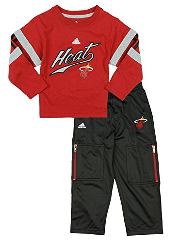NBA Miami Heat Little Boys Toddler 2-piece Long Sleeve Tee And Pant Set by Adidas (Baby Boy Clothes Miami Heat)
