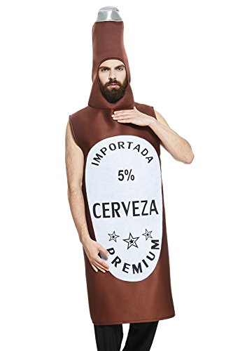 Adult Men Beer Bottle Costume Lager King One Piece Mascot Outfit Funny Dress Up (Medium/Large, Brown / White)