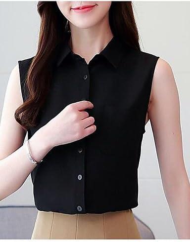 IYFBXl Camiseta sin Mangas para Mujer/Trabajo - Cuello de Camisa de Color sólido, Negro, XL: Amazon.es: Deportes y aire libre