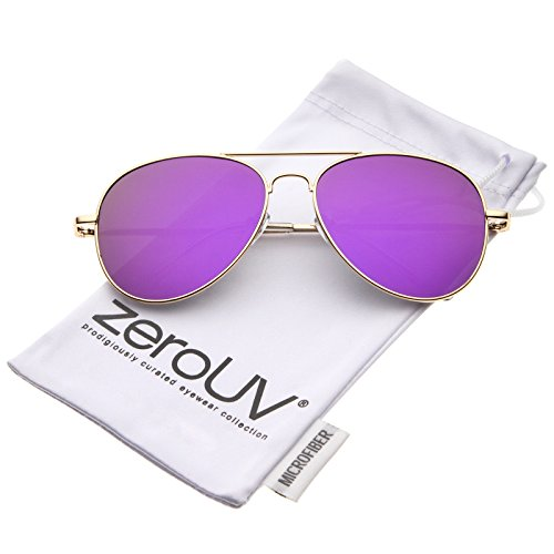 zeroUV - Small Full Metal Color Mirror Teardrop Flat Lens Aviator Sunglasses 56mm (Gold / Purple - Sunglasses Aviator Small