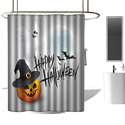 Mannwarehouse Halloween Shower stall Curtains Happy Celebration Typography Stained Look Cute Ghost Pumpkin Hat Print Western Shower Curtains W48 xL84