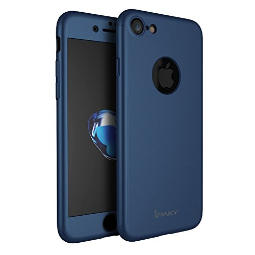 Funda iPhone 7 Case Frontal y Trasera Ultra-Delgada + Regalo Gratis Cristal Templado, Nifogo® &ipaky 360 °Protección Completa Case, Cover, Carcasa, Funda iPhone 7 Integral (iPhone 7, Azul) Azul