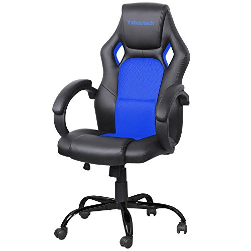 yaheetech-executive-racing-office-chair-computer-desk-gaming-chair-pu-leather-swivel-mesh-bucket-sea