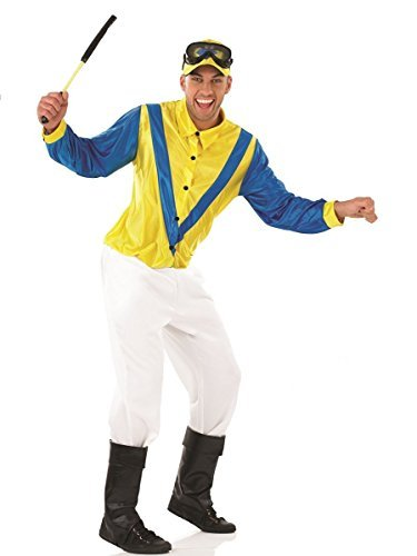 Blue / Yellow Jockey - Adult Fancy Dress Costume - Large - 42-44 by Fun (Jockey Costumes For Adults)