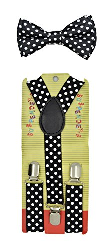 Kids Baby suspender and Bowtie Combo Set Adjustable Boys Girls Toddlers (Black Polka Dots)