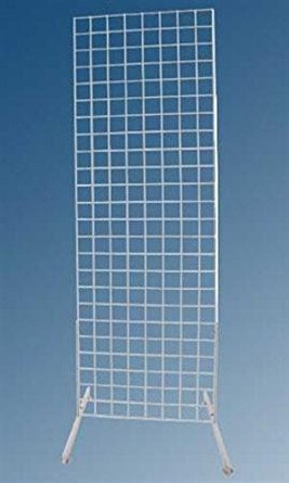 New White Finished 2' x 6' Standing Grid Screen with 24 Inch L Grid Legs by Grid Screen