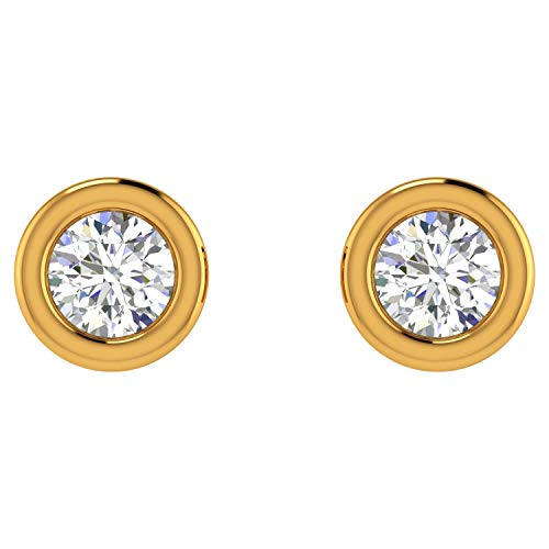 ASHNE JEWELS IGI Certified 0.06 Carat Round-Shape Natural Diamond (G-H Color, I1-I2 Clarity) 14K Yellow Gold Daily Wear Solitaire Stud Earrings For Women