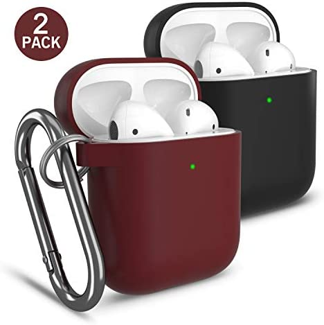 Cuauco 2 Pack Compatible with AirPods Case Protective Cover(for Apple AirPods 2&1,Front LED Visible) with Keychain,35 Pcs Cleaning Kit(Includes Cleaning Wipes,Anti Static Brush,Swabs)(Black+Burgundy): Amazon.es: Electrónica