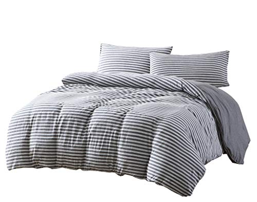 Levi 2-Piece Striped Heather Cotton Jersey Duvet Cover Set - Solid Reversible Ultra Soft and Breathable - Comforter Cover with Button Closure and 1 Pillowcase (Twin, Space Gray/Gray)