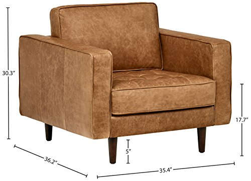 Farmhouse Accent Chairs Amazon Brand – Rivet Aiden Mid-Century Modern Tufted Leather Accent Chair (35.4″W) – Cognac Leather farmhouse accent chairs