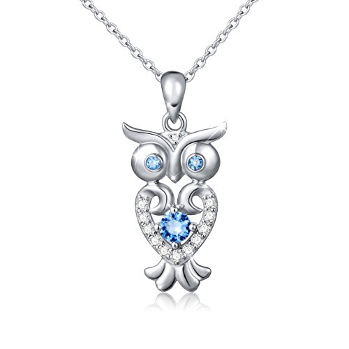 S925 Sterling Silver Lucky Owl Necklace for Women, Rolo Chain 18