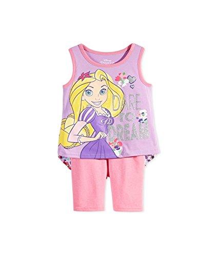 Disney Girls' 2 Piece Rapunzel Tangled Short Set, Purple, 2T]()