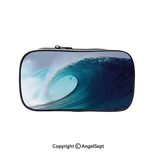 Big Capacity Pencil Case 1L Storage,Tropical Surfing Wave on a Windy Sea Indonesia Sumatra Decorative 5.1inches,Desk Pen Pencil Marker Stationery Organizer with Zipper for School & Office