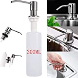 Clearance!!! 300ML Countertop Soap Dispenser for Kitchen Sink Refill from The Top Commercial Grade Liquid Dish Dispensers Pump (Silver 1)