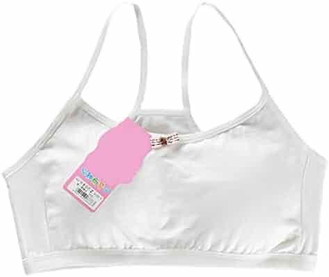 8a66cb7a7cbdd Cicitop Girls Bras Soft Cotton Bras Narrow Shoulder Strap Bra Thin Cup Vest  for 8-