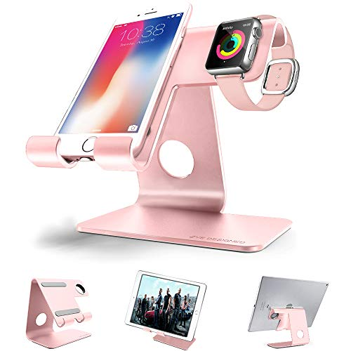 Put Cell Phone Charms - Cell Phone Stand Tablet Stand , ZVEproof iWatch iPhone Apple Watch Charging Station Stand Dock Cradle Holder for Mobile Phone (All Size) and Tablet (Up to 10.1 inch), Rose Gold