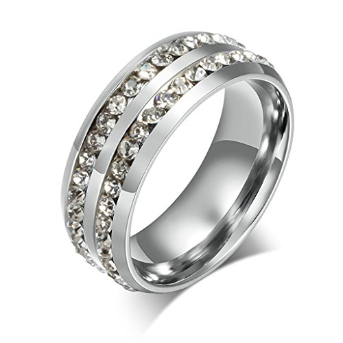 KnSam Women Stainless Steel Eternity Ring Double Channel Set All-Around Ring Silver Size 6 ()