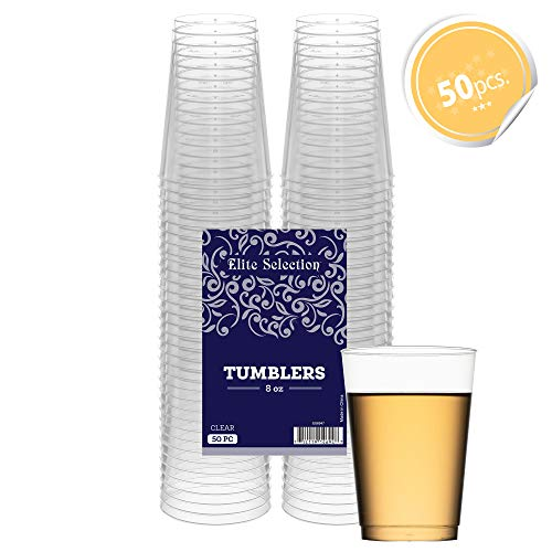Clear Disposable Plastic Cups 8 Oz. Pack Of (50) Fancy Hard Plastic Cups - Party Accessories - Wedding - Cocktails- Tumblers