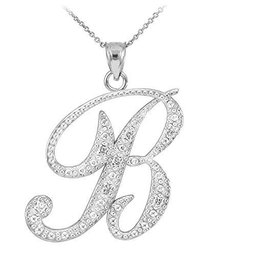 Fine 14k White Gold Diamond Script Letter B Initial Pendant Necklace (18