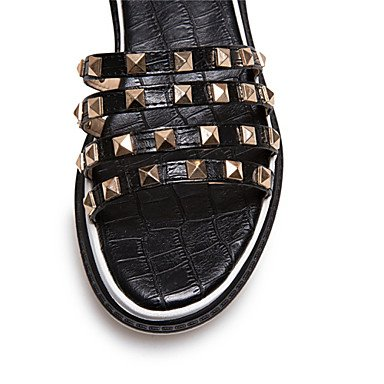 LvYuan Mujer-Media plataforma-Confort Gladiador Creepers-Sandalias-Informal Vestido-Semicuero-Negro Blanco Oro Black