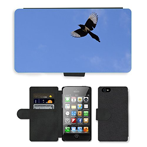 Just Phone Cases PU Leather Flip Custodia Protettiva Case Cover per // M00128031 Elster Vol oiseau de plumes // Apple iPhone 4 4S 4G