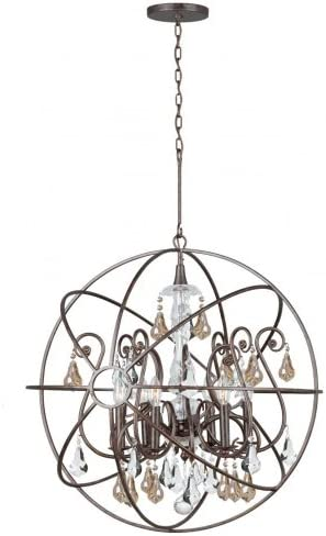 Crystorama 9028-EB-GS-MWP Crystal Accents Six Light Chandelier from Solaris collection in Bronze Darkfinish,