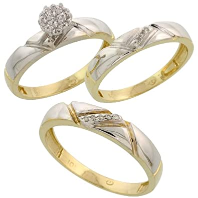 10k Yellow Gold Diamond Trio Engagement Wedding Ring Set for Him and Her 3-piece
