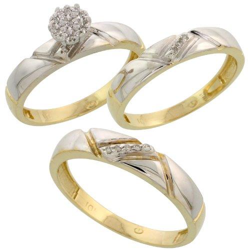 9 ct oro Amarillo Diamante Trio juego de anillos de compromiso de boda para él y
