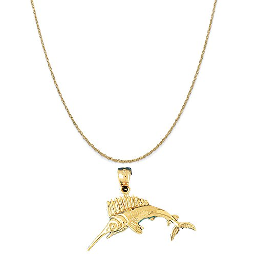 (14k Yellow Gold Marlin Pendant on a 14K Yellow Gold Rope Chain Necklace, 18