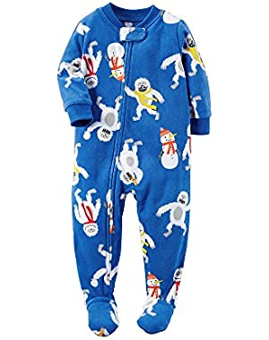Carter's Boys' One Piece Fleece Allover Yeti Sleeper 24 Months