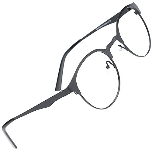 TIJN New Round Metal Non-prescription Glasses Frame with Clear - Cheap Lenses Eyeglasses