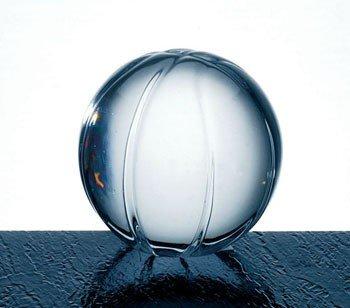 Clear Molten Glass Basketball Paperweight