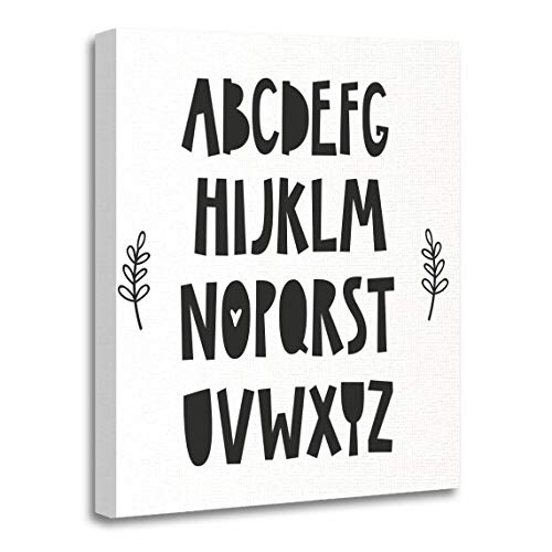 Emvency Canvas Wall Art Print Black Nordic Alphabet for Baby Room The Wall Kids Artwork for Home Decor 12 x 16 Inches