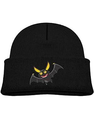 Kids Knitted Beanies Hat Halloween Cartoon Bat Winter Hat Knitted Skull Cap for Boys Girls Pink