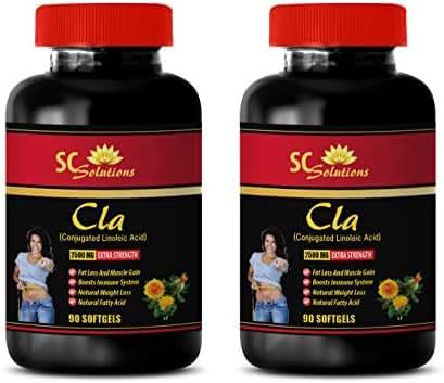Fat Burner Supplements for Men - CLA 2500MG - Extra Strength - cla Bulk Supplements - 2 Bottles (180 Softgels)