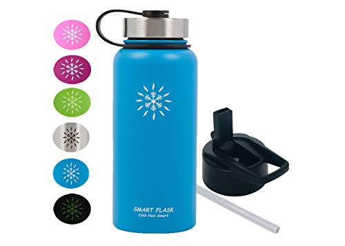 32oz Stainless Steel, Wide Mouth, Vacuum Insulated, Double Walled Water Bottle, Includes Leakproof Travel Lid and Convenient Straw Cap (Ocean Blue)