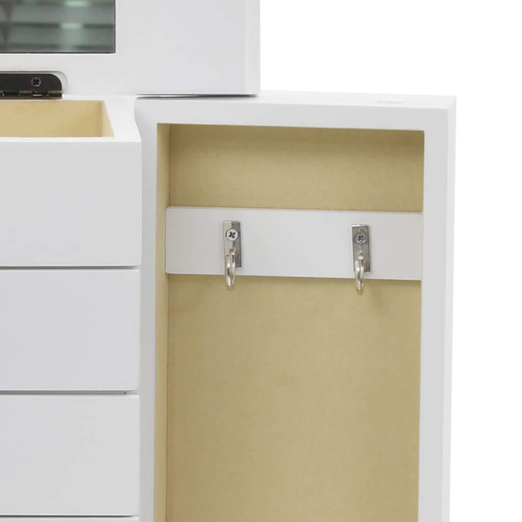 Festnight Armadietto Gioielli Design in MDF Bianco con Specchio e Cassetti 25x13,5x34 cm