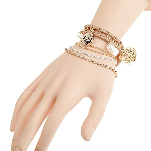 Stylish Distinctive Bracelet / Bangle With Light Pink Colored Woven Band, Golden Chains, Pearls And Heart Pendant / Charm By ()