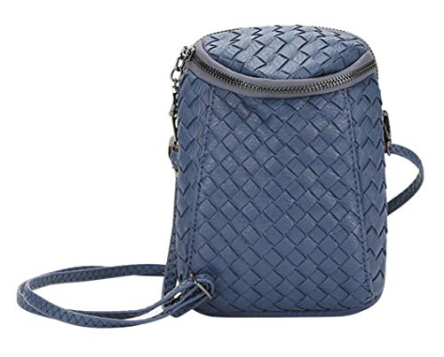 Plus Bag Woven Dual Leather Royal for Zipper iPhone Layers 7s Blue Bag Small Crossbody Girls Women��s Purse Shoulder Messenger qa7EnxHE