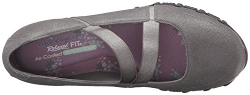 Skechers Donna Bikers -fiesta Mary Jane In Pelle Grigia Piatta