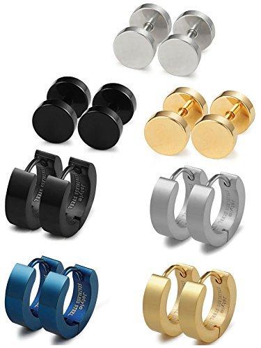 Jstyle-7-Paare-Schmuck-Edelstahl-Tunnel-Ohrstekcer-Herrenohrstecker-Ohrringe-fr-Damen-Herren-7-Stck-verschiedenen-Farben-Farbegold-Gre-14mm-ein-Set
