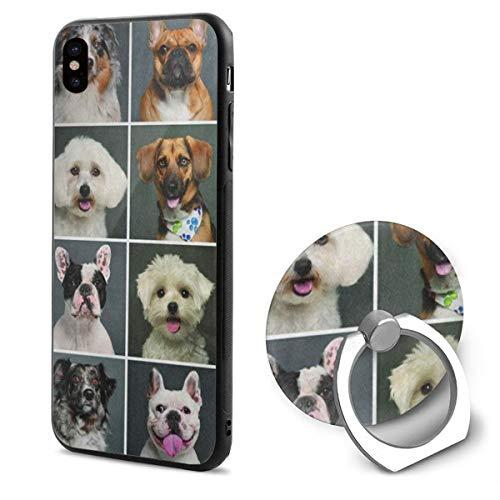 iPhone X Case Cute Puppy Pug Dog Head Emoji Phone Holder Mobile Phone Shell Ring Bracket -