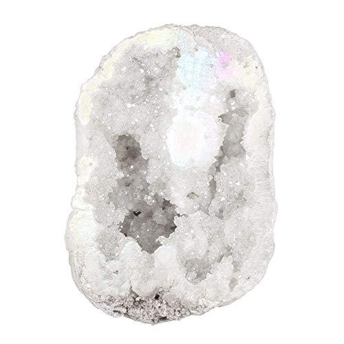 - Top Plaza Natural Rock Crystal Quartz Titanium Coated Reiki Healing Crystal Geode Druzy Mineral Specimen Decoration(White Color)