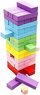 Aoi Tablero de apilamiento de Madera, Juego de Bloques de caída de la Torre de Madera Colorida para niños y Adultos, Juguetes educativos de diversión 48 Piezas: Amazon.es: Juguetes y juegos