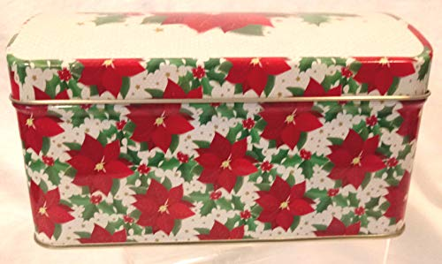 Poinsettias And Holly Tin Holiday Tin Christmas Tin Rectangular 6