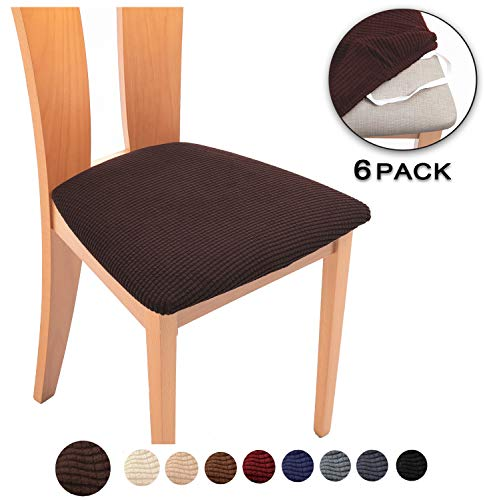 TIANSHU Spandex Jacquard Dining Room Chair Seat Covers,Removable Washable Elastic Cushion Covers for...