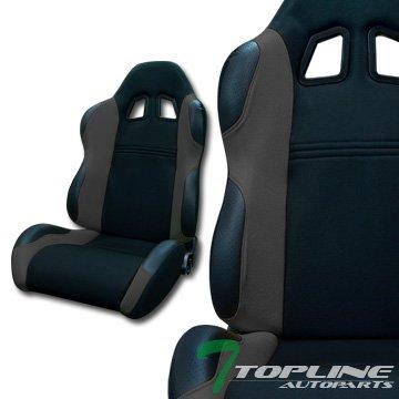 Topline Autopart Ts Sport Black/Gray Cloth Fabric Reclinable Car Racing Bucket Seats+Slider L+R T01