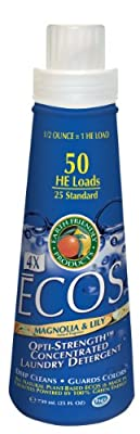 Earth Friendly Products 979806 ECOS 4X Concentrate Magnolia and Lily Liquid Laundry Detergent, 25 oz Bottle (Case of 6)